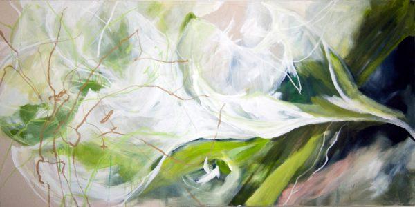 Amaryllis, 200x100 cm, Acryl Mischtechnik auf Leinwand, 2010